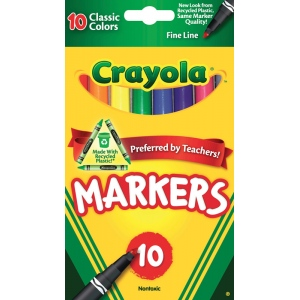 Crayola® Classic Marker Fine Line 10-Color Set; Color: Multi; (model 58-7726), price per set