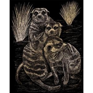 "Royal & Langnickel® Engraving Art Set Gold Foil Meer Cats; Board Size: 8"" x 10""; Color: Metallic; (model GOLF22), price per set"