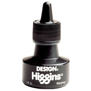 Higgins® Waterproof Black Ink; Color: Black/Gray; Format: Bottle; Ink Type: India, Pigment; Size: 1 oz; Waterproof: Yes; (model SN44201), price per each