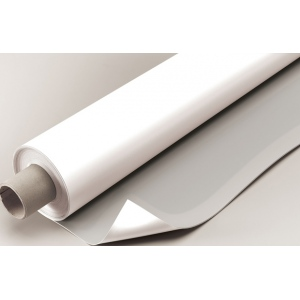 "Alvin® VYCO Gray/White Board Cover 43 1/2"" x 10yd; Color: Black/Gray, White/Ivory; Format: Roll; Material: Vinyl; Size: 43 1/2"" x 10 yd; (model VBC77/43), price per roll"