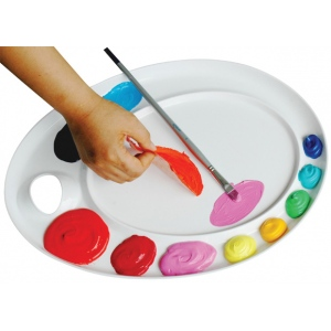 "Martin Universal Mijello Ellipse XL Extra Large Peel-Able Palette for Oils and Acrylics; Color: White/Ivory; Shape: Circle; Size: 12 3/8""l x 17""w x 7/8""h; (model AP3079), price per each"