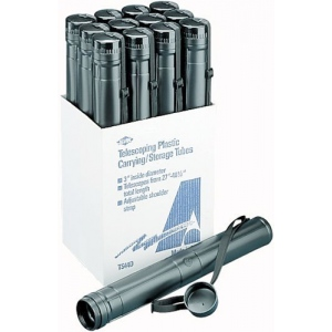 "Alvin® Telescoping Plastic Tube Display: Black/Gray, 3"", 27"" - 50"", Plastic, (model TS44D), price per each"
