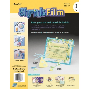 "Grafix® 8 1/2"" x 11"" Clear Shrink Film; Color: Clear; Format: Sheet; Size: 8 1/2"" x 11""; Type: Film; (model KSF6-C), price per pack"