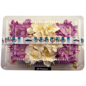 """Dimensional Paper Flowers Lilac/White; Color: Purple, White/Ivory; Material: Paper; Size: 2"""", 3""""; Type: Dimensional; (model BHS107517), price per box"""