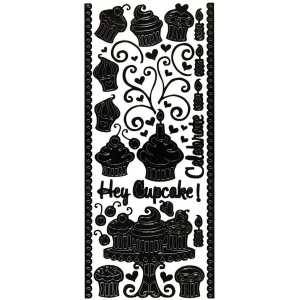"Dazzles™ Stickers Hey Cupcake Black; Color: Black/Gray; Size: 4"" x 9""; Type: Outline; (model HOTP2012), price per each"