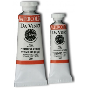Da Vinci Artists' Watercolor Paint 15ml Vermilion; Color: Red/Pink; Format: Tube; Size: 15 ml; Type: Watercolor; (model DAV289F), price per tube
