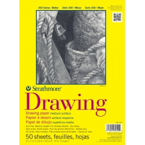 """Strathmore® 300 Series 9"""" x 12"""" Glue Bound Drawing Pad; Binding: Glue Bound; Color: White/Ivory; Format: Pad; Quantity: 50 Sheets; Size: 9"""" x 12""""; Texture: Medium; Weight: 70 lb; (model ST340-109), price per 50 Sheets pad"""
