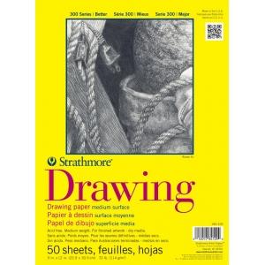 "Strathmore® 300 Series 9"" x 12"" Glue Bound Drawing Pad: Glue Bound, White/Ivory, Pad, 50 Sheets, 9"" x 12"", Medium, 70 lb, (model ST340-109), price per 50 Sheets pad"