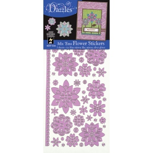 "Dazzles™ Mixems Outline Sticker Pack Flowers; Color: Purple; Size: 4"" x 9""; Type: Flat; (model HOTP1919), price per set"