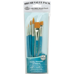 Royal & Langnickel® 9100 Series  Zip N' Close™ Teal Blue 6-Piece Brush Set 11; Length: Short Handle; Material: Taklon; Shape: Angular, Glaze, Liner, Round; Type: Acrylic, Tempera, Watercolor; (model RSET-9182), price per set