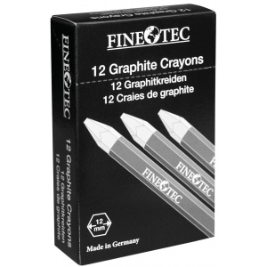 Finetec Graphite Crayon 9B: Black/Gray, 9B, Drawing Lead, (model ML429), price per dozen (12-pack)