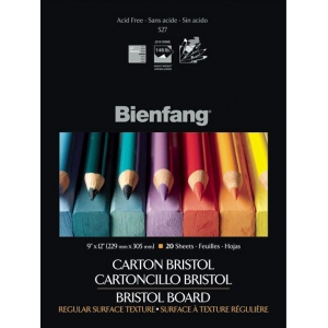 "Bienfang® 9"" x 12"" Vellum Finish White Drawing Bristol Board Pads; Finish: Vellum; Format: Pad; Quantity: 20 Sheets; Size: 9"" x 12""; Weight: 146 lb; (model 527K-121), price per 20 Sheets pad"