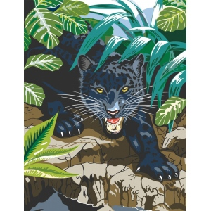 "Royal & Langnickel® Painting by Numbers™ 8 3/4 x 11 3/8 Junior Small Set Black Leopard; Board Size: 8 3/4"" x 11 3/8""; (model PJS42), price per set"