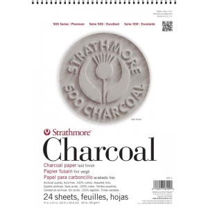"Strathmore 500 Series Charcoal Paper: Wire Bound, Assorted Tints, 12"" x 18"", Pad of 24 Sheets"
