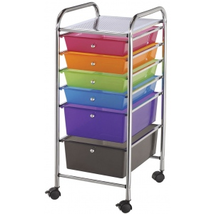 "Blue Hills Studio™ Storage Cart 6-Drawer (Standard and Deep) Multi-Colored; Color: Multi; Drawer Size: 13 3/4""l x 9 3/4""w x 5""h, 13 5/8""l x 9 5/8""w x 5/8""h; Material: Plastic; Quantity: 6-Drawer; Size: 15""d x 11 1/4""w x 32""h; (model SC6MC), price per each"