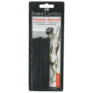 Faber-Castell® Natural Willow Charcoal Stick 6-Pack; Color: Black/Gray; Format: Stick; Size: 7 mm - 12 mm; Type: Willow; (model FC129398), price per pack