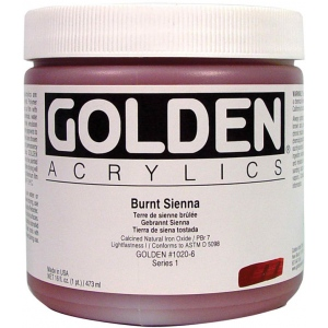 Golden® Heavy Body Acrylic 16 oz. Burnt Sienna; Color: Brown; Format: Jar; Size: 16 oz, 473 ml; Type: Acrylic; (model 0001020-6), price per each