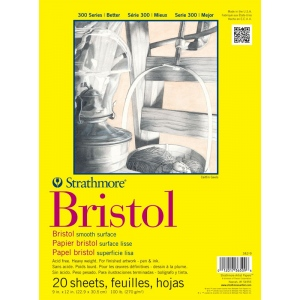 "Strathmore® 300 Series 9"" x 12"" Smooth Tape Bound Bristol Pad; Binding: Tape Bound; Color: White/Ivory; Format: Pad; Quantity: 20 Sheets; Size: 9"" x 12""; Texture: Smooth; Type: Bristol; Weight: 100 lb; (model ST342-9), price per 20 Sheets pad"