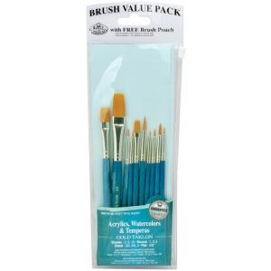 Royal & Langnickel® 9100 Series  Zip N' Close™ Teal Blue 10-Piece Brush Set 3: Short Handle, Taklon, Detail, Flat, Round, Shader, Acrylic, Tempera, Watercolor, (model RSET-9156), price per set