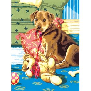 "Royal & Langnickel® Painting by Numbers™ 8 3/4 x 11 3/8 Junior Small Set Puppy & Teddybear: 8 3/4"" x 11 3/8"", (model PJS26), price per set"