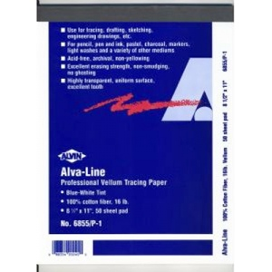 "Alvin® Alva-Line Tracing Paper with Title Block and Border 100-Sheet Pack 22 x 34; Format: Sheet; Quantity: 100 Sheets; Size: 22"" x 34""; Type: Tracing; (model 6855-B-7), price per 100 Sheets"