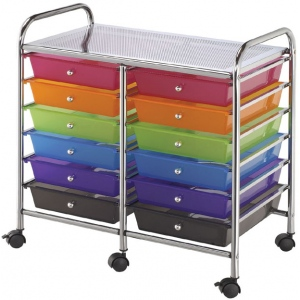 "Blue Hills Studio™ Storage Cart 12-Drawer (Standard) Multi-Colored; Color: Multi; Drawer Size: 13 5/8""l x 9 5/8""w x 5/8""h; Material: Plastic; Quantity: 12-Drawer; Size: 15 1/4""d x 23 5/8""w x 26""h; (model SC12MCDW), price per each"