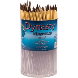 Dynasty® EB-700 Mastodon Canister Series Round Brush Assortment: Short Handle, Synthetic, Round, Acrylic, Oil, (model EB715D), price per each