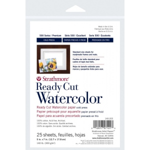 "Strathmore® 500 Series 5"" x 7"" Cold Press Ready Cut Watercolor Sheet Pack: White/Ivory, Sheet, 25 Sheets, 5"" x 7"", Cold Press, 140 lb, (model ST140-205), price per 25 Sheets"