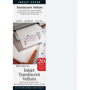 "Strathmore® 8.5"" x 11"" Inkjet Printable Translucent Vellum 20-Pack; Color: White/Ivory; Format: Sheet; Quantity: 20 Sheets; Size: 8 1/2"" x 11""; Type: Vellum; (model ST59-803), price per 20 Sheets"