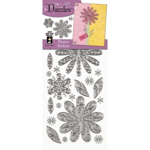 "Dazzles™ Stickers Silver Flower; Color: Metallic; Size: 4"" x 9""; Type: Outline; (model HOTP1846), price per each"