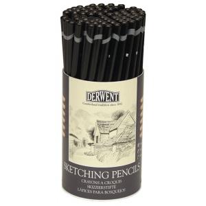 Derwent Sketching Pencil 72-Piece Tub; Color: Black/Gray; Type: Drawing; (model 34345), price per set