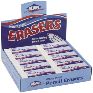 Alvin® White Vinyl Pencil Erasers 20/Box; Material: Vinyl; Quantity: 20-Box; Type: Manual; (model 1410AE), price per 20-Box box