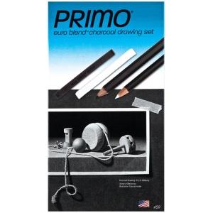 Primo® Euro Blend™ Charcoal Drawing Set: Black/Gray, White/Ivory, Pencil, Stick, (model 59), price per set