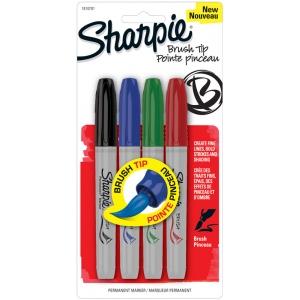 Sharpie® Brush Markers 4-Color Set: Multi, Brush Nib, Fine Nib, (model SN1810701), price per set