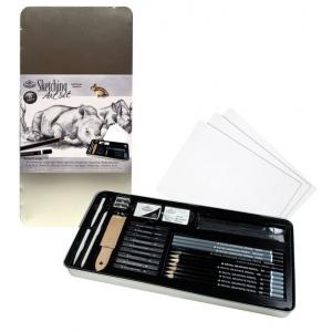 Royal & Langnickel® Sketching Large Tin Art Set; Format: Pencil, Stick; Lead Color: Black/Gray; (model RSET-ART2408), price per set