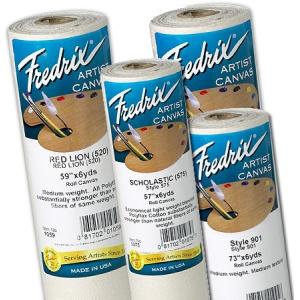 "Fredrix® Artist Series 60 x 6yd Polyflax Acrylic Primed Canvas Roll: White/Ivory, Roll, Polyflax Canvas, 60"" x 6 yd, Acrylic, Primed, (model T1058), price per roll"