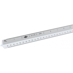 Alvin® 110 Series 30cm High Impact Plastic Metric Triangular Scale; Color: White/Ivory; Material: Plastic; Size: 30 cm; Type: Metric; (model 117PM), price per each