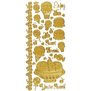 "Dazzles™ Stickers Sweet Treats Gold; Color: Metallic; Size: 4"" x 9""; Type: Outline; (model HOTP2015), price per each"