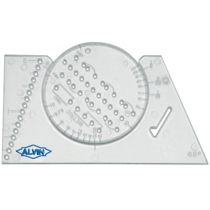 "Alvin® Lettering Guide & Rule Template; Size: 2 3/8"" x 3 7/8""; Type: Lettering; (model AL666), price per each"
