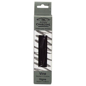 Winsor & Newton™ Artists' Vine Charcoal Medium Set; Color: Black/Gray; Degree: Medium; Format: Stick; Type: Vine; (model 7005166), price per box