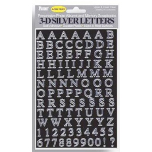 "Pioneer® Letter Stickers Silver: Metallic, 1/4"" - 3/8"", Flat, (model 3DLS), price per pack"