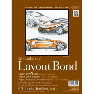 "Strathmore® 400 Series 14"" x 17"" Glue Bound Layout Bond Pad: Glue Bound, White/Ivory, Pad, 50 Sheets, 14"" x 17"", Layout Bond, 16 lb, (model ST411-14), price per 50 Sheets pad"