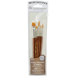 Royal & Langnickel® 9100 Series  Zip N' Close™ Brown 5-Piece Brush Set 2: Short Handle, Camel, Sable, Detail, Flat, Round, Shader, Acrylic, Tempera, Watercolor, (model RSET-9162), price per set