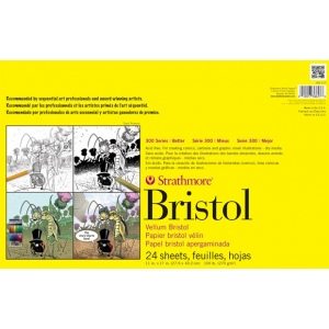 "Strathmore® 300 Series 300 Series Sequential Art Bristol Paper 11"" x 17"": Tape Bound, White/Ivory, Pad, 24 Sheets, 11"" x 17"", Smooth, Sequential Art Bristol, 100 lb, (model ST342-17), price per 24 Sheets pad"