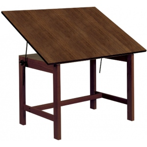 "Alvin® Titan Solid Oak Table Walnut Finish 31"" x 42"" x 30""; Angle Adjustment Range: 0 - 45; Base Color: Brown; Base Material: Oak; Height: 30""; Top Color: Brown; Top Material: Melamine; Top Size: 31"" x 42""; (model WOB42-WA), price per each"
