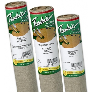 "Fredrix® PRO Series 54"" x 100yd Unprimed Linen Canvas Roll 138 Linen Coarse: White/Ivory, Roll, Linen, 54"" x 100 yd, Unprimed, (model T10463), price per roll"