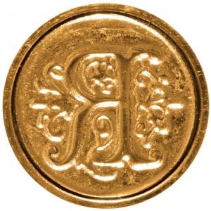 "Manuscript Initial Ceramic Mini Seal R: Round, 3/4"", (model MSH725R), price per each"