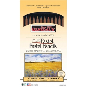 General's® MultiPastel® Pastel Pencil 12-Color Set; Color: Multi; Format: Pencil; (model G4400-12), price per set