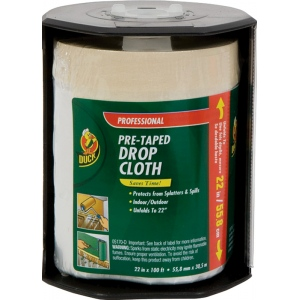 "Duck Tape® Pre-Taped Drop Cloth 22"" x 100': 22"" x 100', Drop Cloth, (model DT394350), price per each"