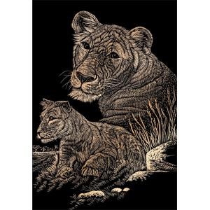 "Royal & Langnickel® Engraving Art Set Copper Foil Lioness & Cub; Board Size: 8"" x 10""; Color: Metallic; (model COPF11), price per set"